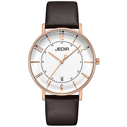 JEDIR Men Ultra Thin Classic Orologio al quarzo grande quadrante analogico...