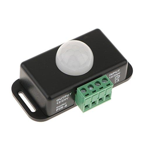 perfk Interruptor de Sensor de Movimiento Infrarrojo PIR - Negro, Individual