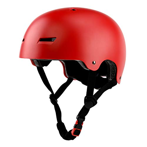 Adult Skateboard Bike Helmet for Men Women Lady Lightweight Adjustable MultiSport for Roller Skate Inline Skating Scooter Rollerblade Red