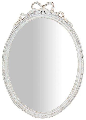 Specchio, Specchiera Ovale da Parete, da Appendere al Muro Orizzontale Verticale, Shabby Chic, Trucco, Bagno, Cornice Finitura Colore Bianco Anticato, L36xPR3xH50 cm. Stile Shabby Chic.