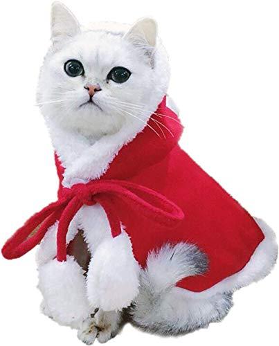 Katze Weihnachten Kostüm, Haustier Katze Weihnachten Santa Claus Mantel Kostüm mit Hut, Katzenkostüm Cape Warme Weihnachtskleidung,Party Holiday Dress Up Pet Bekleidung für Katzen Kleine Hunde (S)