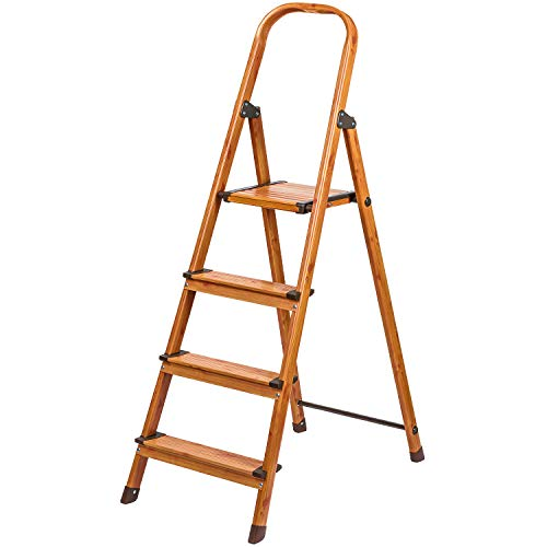 Tatkraft Upgrade High Quality 4 Step Ladder, Step Stool, Foldable Kitchen Step with Anti-Slip Steps Aluminium Scandinavian Wood Style