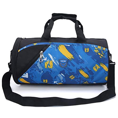 MERRYHE Unisexe Gym Holdall Sports Duffle Bag en Plein Air Weekend Cabin Carry on Bagages Voyage Nuit Top-Handle Sacs avec Chaussures Compartiment,Blue-44 * 23 * 23CM