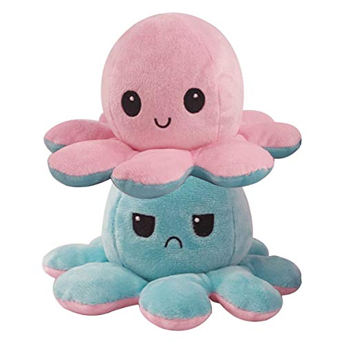 Hirsrian Niedliche Octopus Plüschtiere Doppelseitige Flip Octopus Puppe (grün-pink)
