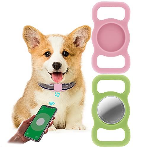 2 Piezas Funda Protectora para Airtag,LucBuy Soporte de Silicona para Mascotas para AirTags,GPS Que Rastrea la Cubierta Anti-perdida del Localizador del Bolso de Escuela del Collar del Gato del Perro