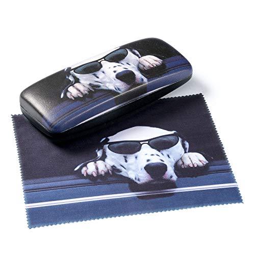 FEFI - Funda rígida para gafas: Dogs con paño de microfibra a juego.