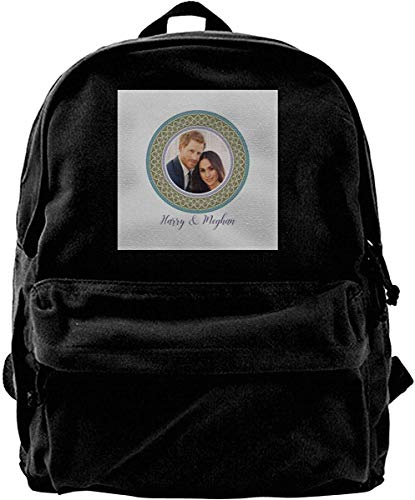 shenguang Canvas Backpack Green Harry and Meghan Royal Wedding Decorative Plate Rucksack Gym Hiking Laptop Shoulder Bag Daypack for Men Women