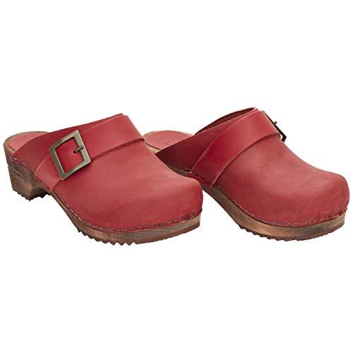 Sanita Zuecos abiertos Urban | Originales hechos a mano | Zuecos de piel y madera para mujer, color Rojo, talla 35 EU