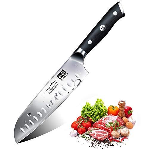 Kochmesser Küchenmesser, SHAN ZU Chefmesser Santoku Deutscher Carbon Edelstahl Scharfe Messerklinge 18cm Ergonomischer Griff Geschenkbox