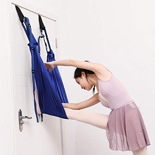TOCO FREIDO Fitness Stretching Strap, Aerial Yoga Assist Strap with 2 Door Anchor (Ceiling Mount Not Included), Improve Leg Waist Back Flexibility for Rehab Pilates Ballet Dance Splits Gymnastics
