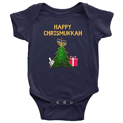 Chrismukkah Baby Infant Hanukkah Suit Holiday Girls Toddler Bodysuit Outfit Boys Romper Pajama Navy