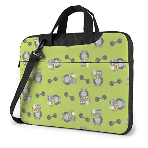 Cartoon Cute Rhino Laptop Sleeve Case 15.6 Inch Computer Tote Bag Shoulder Messenger Briefcase for Business Travel