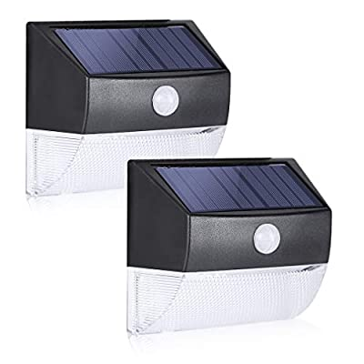 Solar Motion Sensor Light Outdoor- Twinsluxes Super Bright LED Transparent Solar Lights Outdoor with Omni-Directional Lighting, Solar Wall Lights Outdoor for Garden, Yard, etc (200lm, 2 Pack)