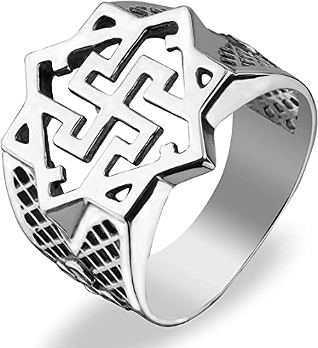 Viking Valkyrie Band Ring Sterling Silver 925 Nordic Symbols Pagan Celtic Signet Rings Norse Scandinavian Jewelry for Men Women (6)
