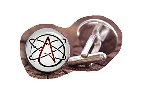 Gemelos de boda con símbolo de átomo ateo, gemelos, gemelos