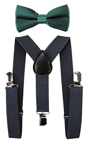 axy Kinder Dunkelgraue Hosenträger-Y Form mit Fliege- 3 Clips EXTRA STARK (Dunkelgraune Hosenträger + Grüne Fliege)