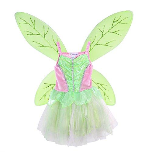 LUOEM Disfraz Hada Niña Alas de Hada Mariposa y Vestido Disfraz Campanilla Niña Verde Rosa Talla S 95-110cm