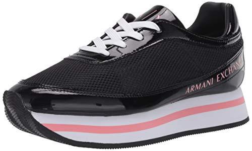 Armani Exchange Damen Sneaker, Schwarz (Black+White Logo 00002), 35 EU