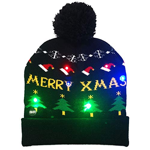 SLONLI Light Up Christmas Hat LED Beanie Hat White Elephant Gifts Funny Gag Gifts Novelty Party Favors Women Men Adults Kids