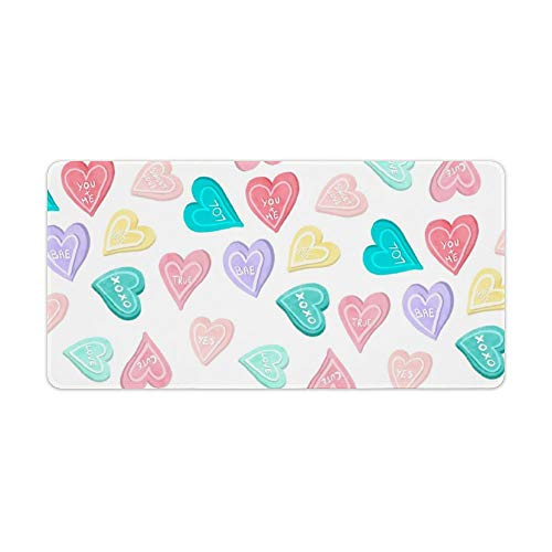 Extended Gaming Mouse Pad with Stitched Edges Waterproof Large Keyboard Mat Non-Slip Rubber Base St Valentine Love Hearts Sweets Pastel Typography Desk Pad for Gamer Office Home 12x24 Inch