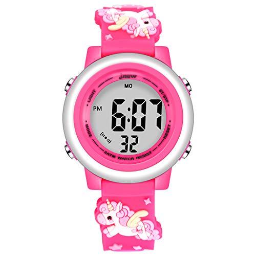 Jianxiang Kids Digital Sport Relojes para niñas Niños, Impermeable al aire libre LED Temporizador con 7 colores Retroiluminación 3D Cartoon Silicona Band Niño Reloj