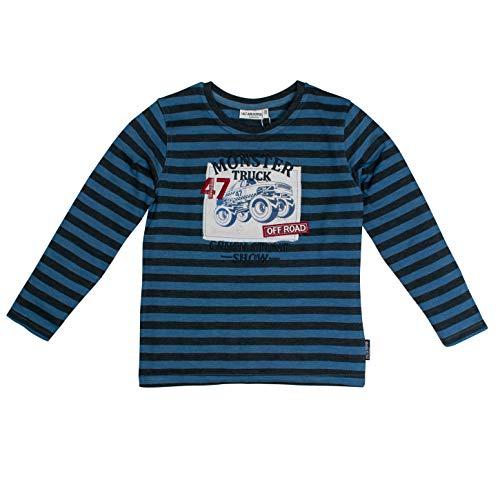 Salt & Pepper Jungen Adventure Monstertruck Print Langarmshirt, Blau (Dutch Blue Melange 447), 128 (Herstellergröße: 128/134)