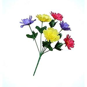 Artificial Zinnia Yellow Purple Beauty (24 Pack) 13″ Tall Bush Home Faux Silk Flower Decor Flowers Bouquet Realistic Flower Arrangements Craft Art Decor Plant for Party Home Wedding Decoration