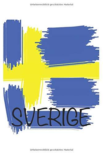 Schweden Sverige - Notizbuch, Notizheft, 6x9, schwedische Flagge/ Fahne, Stockholm, Reisetagebuch, Erlebnistagebuch, Schwedisches Vokabelheft, Geschenk zum Geburtstag oder Weihnachten
