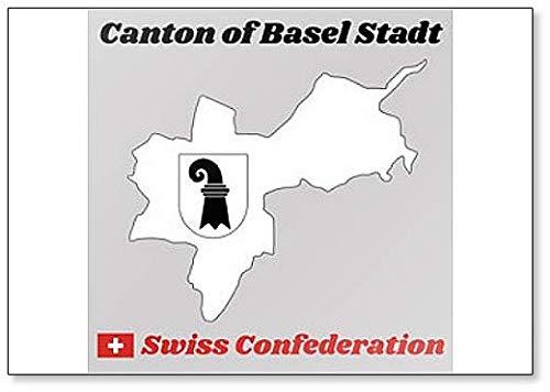 Klassischer Kühlschrankmagnet, Landkarte und Wappen von Basel-stadt, Kanton Schweiz