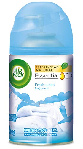 Air Wick Pure Freshmatic Refill Automatic Spray, Fresh Linen, 1ct, New Look, Same familiar smell of Fresh Laundry, Essential Oil, Odor Neutralization, Packaging May Vary, White
