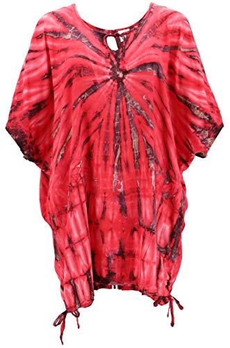 Guru-Shop, Tie Dye Tuniek, met Linten, Maxi Tuniek, Strandjurk, Oversized, Rood/antraciet, Size:One Size, Blouses Tunieken