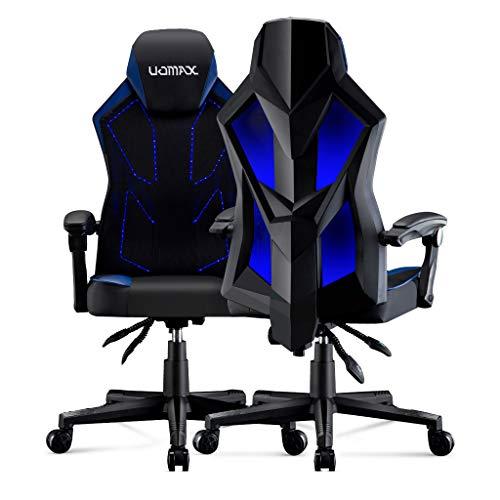 UOMAX Gaming Stuhl mit LED-Leuchten, Breitem Flachem Kissen Gamer Sessel, Verstellbarem Rennstuhl, Ergonomischer Computerstuhl mit Stoffrücken und...