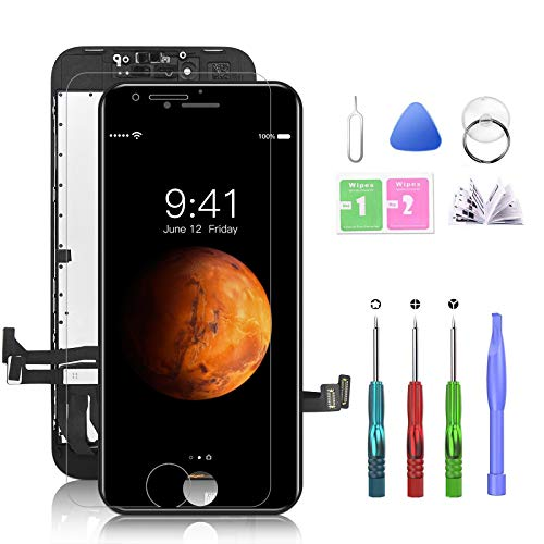 HTECHY Ersatz für iPhone 8 Display Schwarz Komplett, Retina Display LCD Touchscreen Bildschirm mit Displayschutz, Aufgerüstetes Reparaturset und Reparaturanleitung (4.7 Zoll)