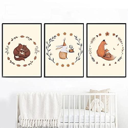 Impresión Pinturas Murales Ciervo conejo zorro Cuadro sobre Lienzo Decoración salón Dormitorio...
