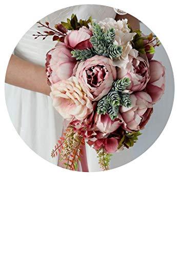 Romantischer Landhausstil Wasserfall Hochzeit Bouquet Champagner Brautstrauß Künstliche Seidenblumen für Hochzeit Dekoration, Color 3, Größe