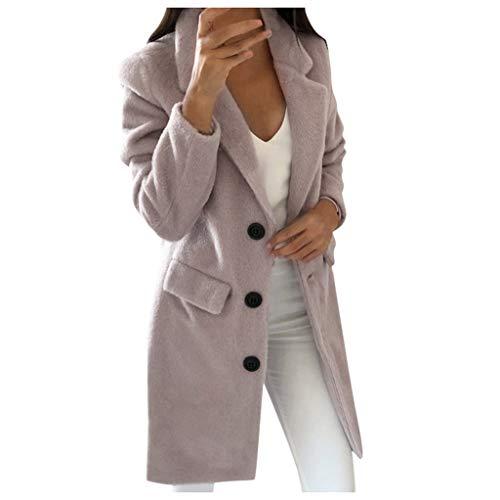 ZHANSANFM Wintermantel Damen Fleece Plüsch Dicke Knopf Wollmantel Langarm Revers Outwear Frauen Herbst Winter Warmen Trenchcoat Mode Elegant Vintage Coat Wintermantel (3XL, Rosa-1)