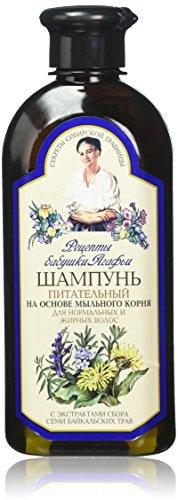 Grandma Agafia's Recipes, Oma Agafia Rezepte Pflegende Shampoo für normales und fettiges Haar, dunkelblau, Minze, 350 ml