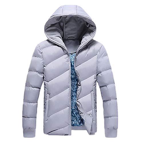Preisvergleich Produktbild Amphia Herren Baumwollmantel mit Kapuze Daunenjacke - Männer Winter Warme Kapuzenjacke Dicker,  Mantel mit Reißverschluss Baumwolle Jacke(GrauM)