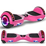 Beston Sports Newest Generation Electric Hoverboard Dual Motors Two Wheels Hoover Board Smart self Balancing Scooter with Built in Speaker LED Lights for Adults Kids Gift (Classic Pink)