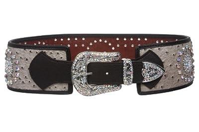 Womens 3 1/2'' Wide Contour High Waist Ostrich Print Western Rhinestone Fashion Belt, Light Brown | S/M - 34