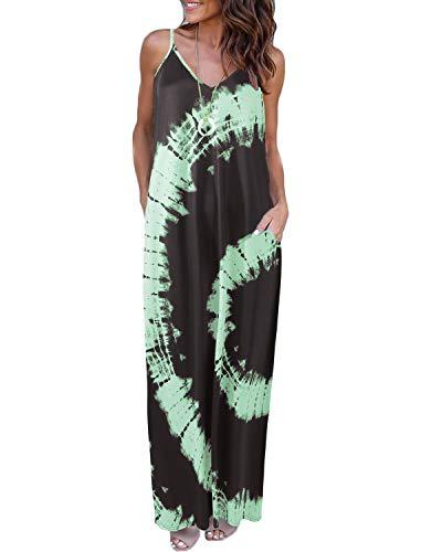 VONDA Abiti Donna Lunghi Senza Maniche Vestito Estivi da Spiaggia Casuale Abito C-Verde XXL
