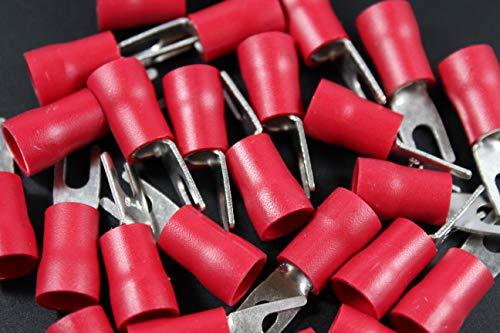 8 Gauge Vinyl Spade # 8 RED 10 PK Crimp Terminal Connector AWG GA CAR Fork
