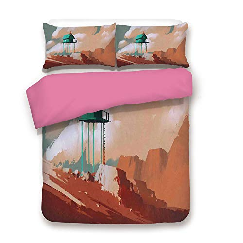 Fantasy Art House Decor 3D Duvet Cover Set Little Wood House on Stone Hill with Boy on the Cloudy Roof Artprint Bedding Set with 2 Pillow case Queen,Best Gift For Valentines'Day Birthday Tan Green