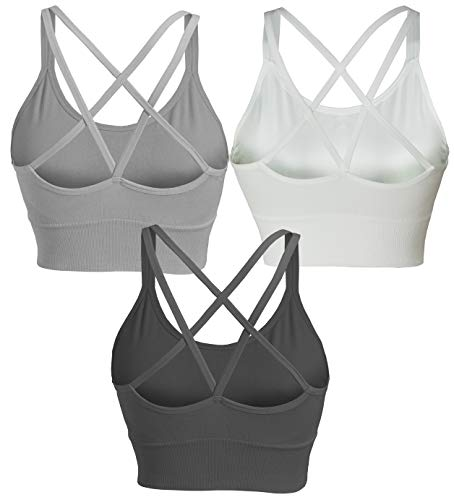KINYAOYAO Racerback Sports Bras for Women 3-Pack Seamless Crossback Bra for Yoga Gym Workout Fitness,Black/White/Grey,Large