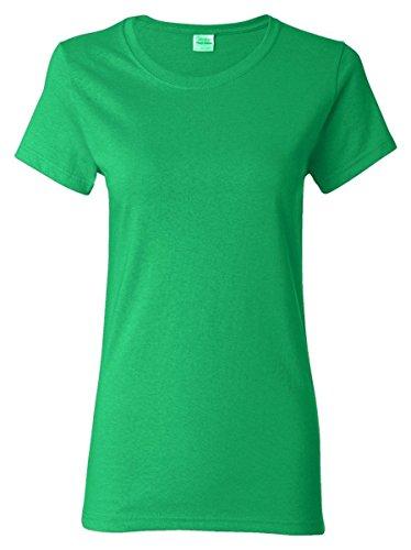 Gildan Women's Heavy Taped Neck Comfort Jersey T-Shirt, Irish Green, Large