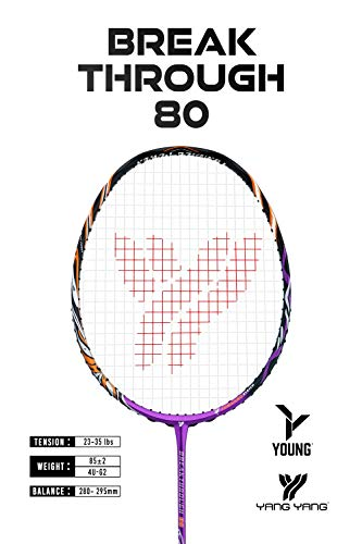 Young Professional Badminton Racket Lightweight High Modulus Graphite Racket (Vital Material for Strength&Shock Absorption reducing Muscle Injury) w/Carrying Bag (PRO: BT 80)