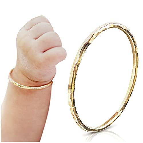 Bracelet for Toddler Girls - 14K Gold Filled Handmade Bangle Gift for Kids - Golden Jewelry for Baptism, Blessing, Dedication plus Unique Keepsake for Mom   For Babies 5 months to 1 1/2 year old