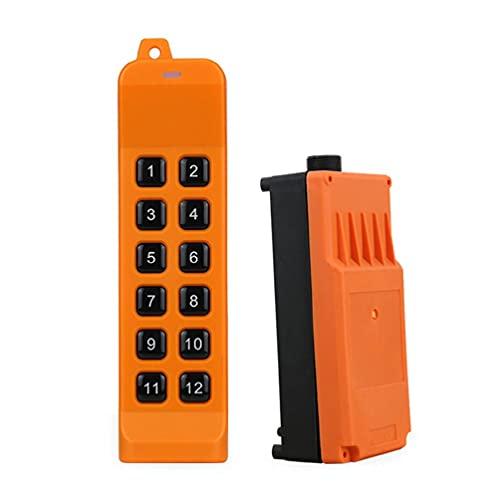 ZOUD Mando a distancia industrial de 220 V, 380 V, 110 V, 12 V, 24 V, control de grúa elevadora, 1 transmisor + 1 grúa receptora mando a distancia inalámbrico