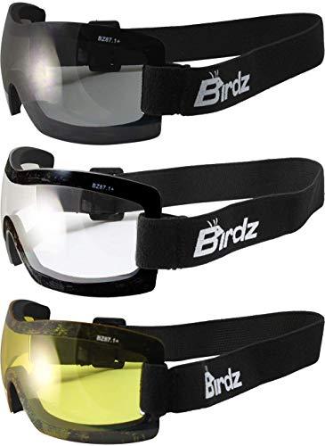 Birdz - 3 Pares de Gafas de equitación sin Marco antivaho, Lentes Color Amarillo Ahumado Transparente