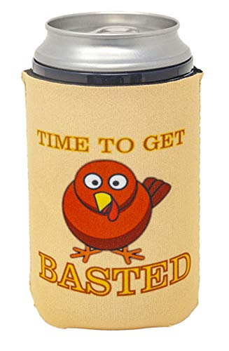 Funny Guy Mugs Time To Get Basted Neoprene Can Coolie - Thanksgiving Drink Cooler